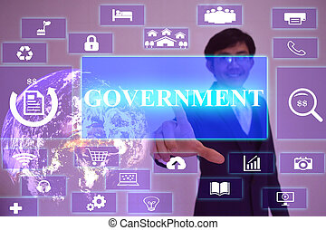 government concept presented by businessman touching on...