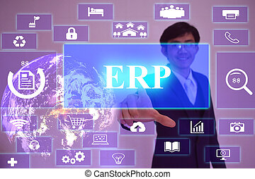 ERP - Enterprise Resource Planning  concept  presented by  businessman touching on  virtual  screen ,image element furnished by NASA