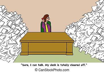 Paperwork - Business cartoon about avoiding paperwork.