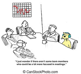 Meeting Behavior - Business cartoon about rude meeting...