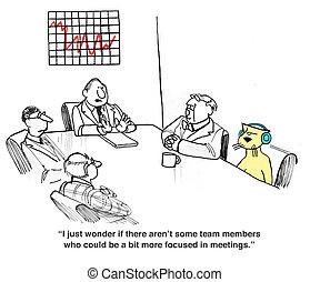 Meeting Behavior - Business cartoon about rude meeting...