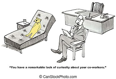 Lacking Curiosity - Business cartoon about curiosity.