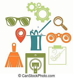 Vector background with a composition: the magic cylinder, binoculars, magnifying glass, brush, goggles, gears and other.