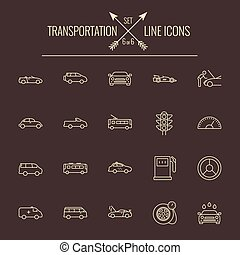 Transportation icon set Vector light yellow icon isolated on...