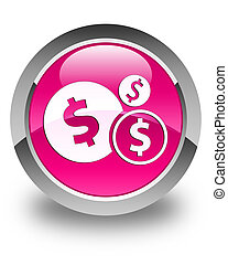 Finances (dollar sign) icon glossy pink round button