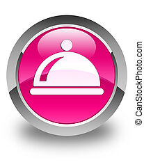 Food dish icon glossy pink round button