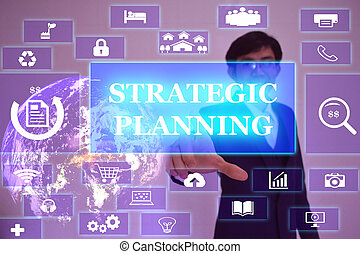 STRATEGIC PLANNING  concept  presented by  businessman touching on  virtual  screen ,image element furnished by NASA