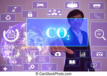 sustainable development concept presented by businessman...