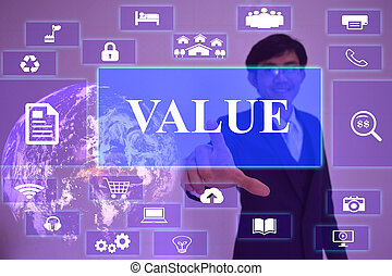 value concept  presented by  businessman touching on  virtual  screen ,image element furnished by NASA