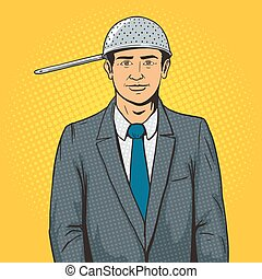 Man with strainer on head pop art style vector illustration....