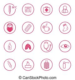 set of 16 pink medical signs