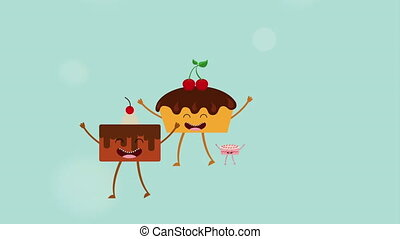 Animated dessert icon design, Video Animation HD1080