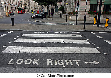 Pedestrian zebra crossing in London - Warning at crossroad...
