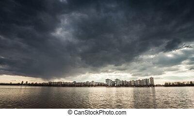 Rain clouds, rain starts