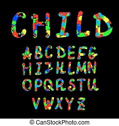Vector set with hand written ABC letters on black background. Colorful alphabet. Vector illustration