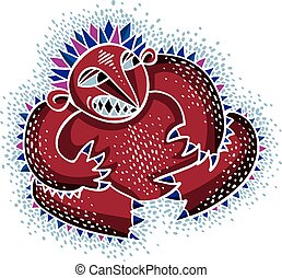 Comic character, vector funny red alien monster. Emotional expression idea graphic symbol, design element.