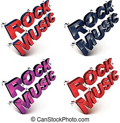 Set of dimensional shattered vector rock music word,...