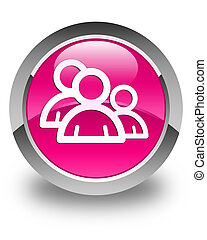 Group icon glossy pink round button