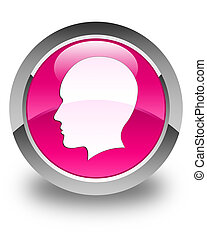 Head (men face) icon glossy pink round button
