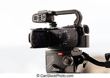 Low End Professional Video Camera On Fluid Head Tripod -...