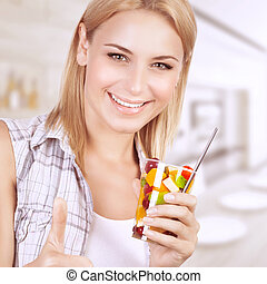 Healthy eating woman - Closeup portrait of beautiful...