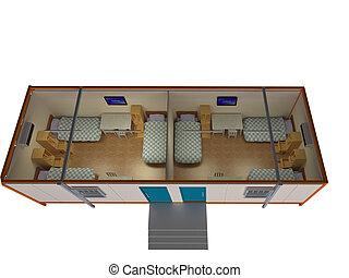3D room top view inside