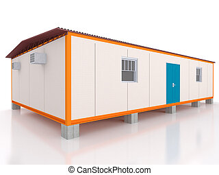 3D view of a portable cabin warehouse