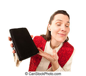 Female preacher with Bible and holy garments