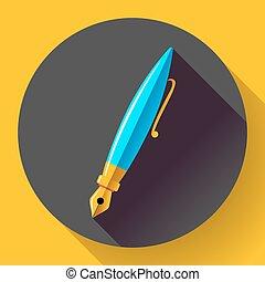 Fountain pen - vector icon, flat design