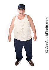 Big man - Obese man in tee shirt on white background