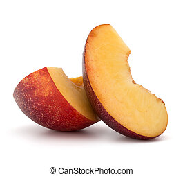 Nectarine fruit slice isolated on white background close up...