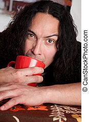 café, homem, cansadas, copo