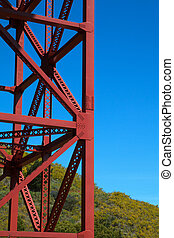 Golden Gate Bridge Support - Red painted steel beams that...