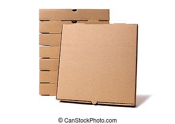 Stack of brown pizza boxes with display box