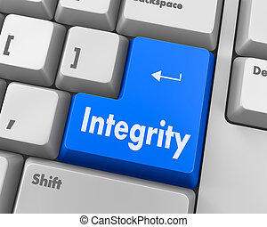 integrity - A computer keyboard with keys spelling...