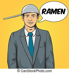 Man with strainer on head pop art style vector illustration...