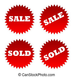Sale and sold stickers - Red sale and sold stickers or...