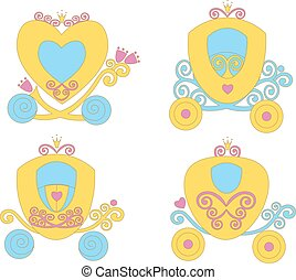 Beautiful fairytale Cartoon Illustration carriage Princess for Children Education.  vector  game for children