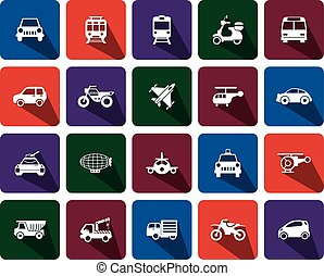 flat icons transportation  - icons for Web and Mobile