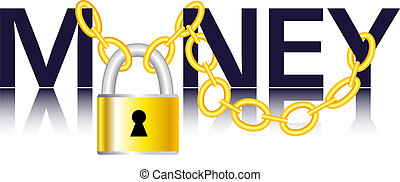 Vector - Money, chain and padlock - Symbolic illustration of...