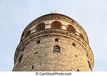 Galata Tower in Beyoglu, Istanbul City, Turkey