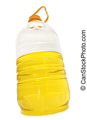 bottle with vegetable oil isolated on a white...