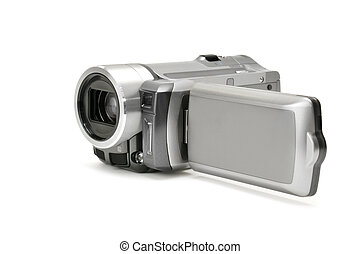 high-definition camera isolated on a white...