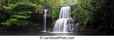 Panoramic tropical waterfall scenery - Panorama of the...