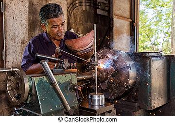Mechanician welding a metal part