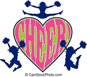 Cheer Heart is an illustration of a cheerleader design which...