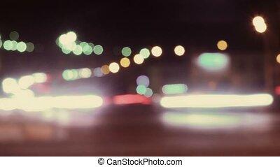 Night traffic in Saint Petersburg, Russia. Vintage color,...