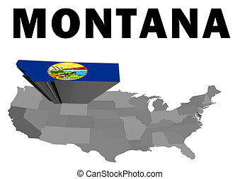 Montana - Outline map of the United States with the state of...