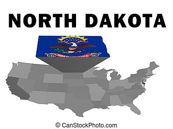 North Dakota - Outline map of the United States with the...