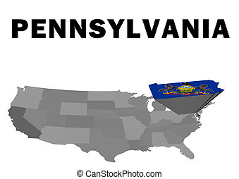 Pennsylvania - Outline map of the United States with the...